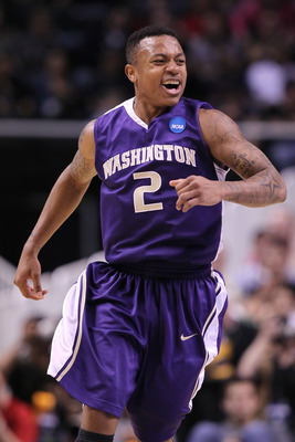 SAN JOSE, CA - MARCH 20:  Guard Isaiah Thomas #2 of the Washington Huskies reacts after a play against the New Mexico Lobos in the second round of the 2010 NCAA men's basketball tournament at HP Pavilion on March 20, 2010 in San Jose, California.  (Photo