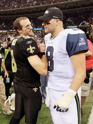 NEW ORLEANS - NOVEMBER 21:  Quarterback Drew Brees # of the New Orleans Saints and Matt Hasselbeck #8 of the Seattle Seahawks at Louisiana Superdome on November 21, 2010 in New Orleans, Louisiana.  (Photo by Kevin C. Cox/Getty Images)