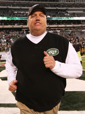 EAST RUTHERFORD, NJ - JANUARY 02:  Head coach Rex Ryan of the New York Jets celebrates their 38 - 7 win over the Buffalo Bills at New Meadowlands Stadium on January 2, 2011 in East Rutherford, New Jersey.  (Photo by Al Bello/Getty Images)