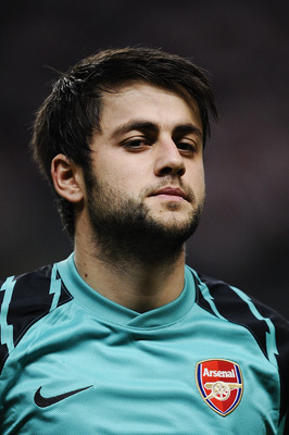BRAGA, PORTUGAL - NOVEMBER 23:  Lukasz Fabianski of Arsenal looks on during the UEFA Champions League Group H match between SC Braga and Arsenal at Estadio Municipal de Braga on November 23, 2010 in Braga, Portugal. SC Braga won the match 2-0.  (Photo by