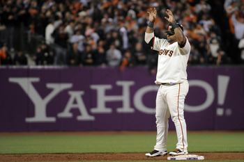 SAN FRANCISCO - OCTOBER 20:  Pablo Sandoval #48 of the San Francisco Giants reacts after hitting an RBI double in the sixth inning against the Philadelphia Phillies in Game Four of the NLCS during the 2010 MLB Playoffs at AT&T Park on October 20, 2010 in