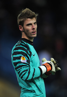 MADRID, SPAIN - DECEMBER 01:  Goalkeeper David de Gea of Atletico Madrid looks on during the Europea League match between Atletico Madrid and Aris Thessaloniki at the Vicente Calderon Stadium on December 1, 2010 in Madrid, Spain.  (Photo by Jasper Juinen/