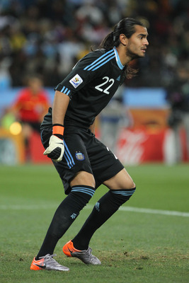 JOHANNESBURG, SOUTH AFRICA - JUNE 27: Sergio Romero of Argentina in action during the 2010 FIFA World Cup South Africa Round of Sixteen match between Argentina and Mexico at Soccer City Stadium on June 27, 2010 in Johannesburg, South Africa.  (Photo by Do