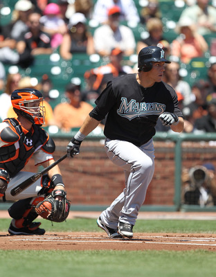 SAN FRANCISCO - JULY 29:  Logan Morrison #20 of the Florida Marlins bats against the San Francisco Giants during an MLB game at AT&T Park on July 29, 2010 in San Francisco, California.  (Photo by Jed Jacobsohn/Getty Images)