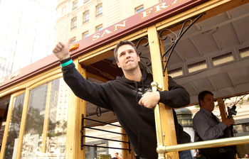 SAN FRANCISCO - NOVEMBER 03:  Buster Posey of the San Francisco Giants waves to the crowd during the San Francisco Giants victory parade on November 3, 2010 in San Francisco, California.  (Photo by Ezra Shaw/Getty Images)