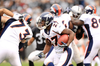 OAKLAND, CA - DECEMBER 19:  Knowshon Moreno #27 of the Denver Broncos runs with the ball during their game against the Oakland Raiders at Oakland-Alameda County Coliseum on December 19, 2010 in Oakland, California.  (Photo by Ezra Shaw/Getty Images)