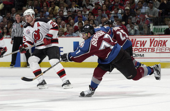 7Jun 2001:  Ray Bourque #77 of the Colorado Avalanche in action against the New Jersey Devils in game six of the NHL Stanley Cup Finals at Continental Airlines Arena in East Rutherford, New Jersey.  The Avalanche won 4-0.  DIGITAL IMAGE. Mandatory Credit: