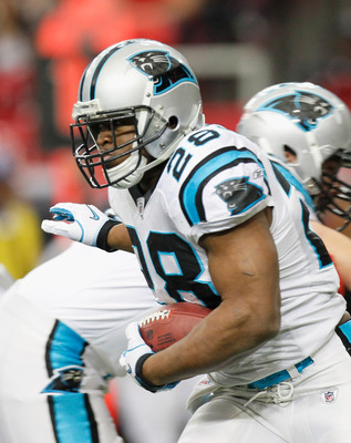 ATLANTA, GA - JANUARY 02:  Jonathan Stewart #28 of the Carolina Panthers against the Atlanta Falcons at Georgia Dome on January 2, 2011 in Atlanta, Georgia.  (Photo by Kevin C. Cox/Getty Images)