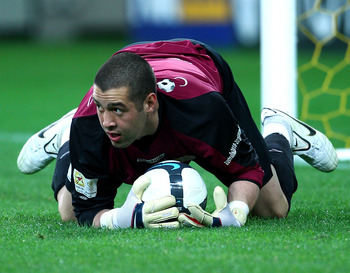 MELBOURNE, AUSTRALIA - MAY 14:  Dean Bouzanis of the Come Play XI makes a save during the Kevin Muscat Testimonial match between Melbourne Victory and the Come Play XI Squad at AAMI Park on May 14, 2010 in Melbourne, Australia.  (Photo by Mark Dadswell/Ge