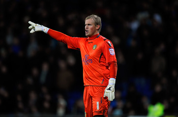CARDIFF, WALES - JANUARY 04:  Leeds goalkeeper Kasper Schmeichel in action during the npower Championship game between Cardiff City and Leeds United at Cardiff City stadium on January 4, 2011 in Cardiff, Wales.  (Photo by Stu Forster/Getty Images)