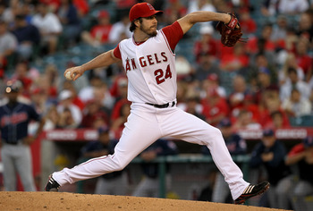 ANAHEIM, CA - SEPTEMBER 6:  Dan Haren #24 of the Los Angeles Angels of Anaheim throws a pitch against the Cleveland Indians on September 6, 2010 at Angel Stadium in Anaheim, California.  (Photo by Stephen Dunn/Getty Images)