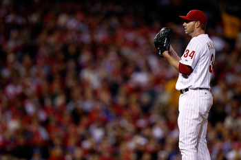 PHILADELPHIA - OCTOBER 16:  Roy Halladay #34 of the Philadelphia Phillies pitches in the first inning against the San Francisco Giants in Game One of the NLCS during the 2010 MLB Playoffs at Citizens Bank Park on October 16, 2010 in Philadelphia, Pennsylv