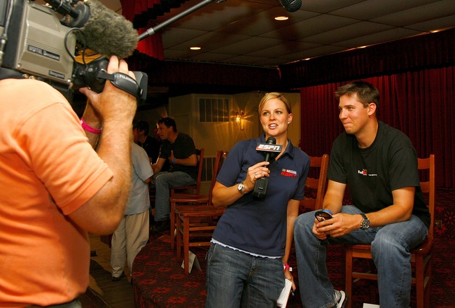 NEW WESTON, OH - JUNE 06:  Denny Hamlin (C) speaks with ESPN's Shannon Spake prior to the Nextel Prelude to the Dream on June 6, 2007 at Eldora Speedway in New Weston, Ohio.    (Photo by Rusty Jarrett/Getty Images for Eldora Speedway)