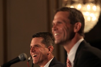 SAN FRANCISCO, CA - JANUARY 07:  Jim Harbaugh and general manager Trent Baalke speak at a press conference where Harbaugh was introduced as the new San Francisco 49ers head coach at the Palace Hotel on January 7, 2011 in San Francisco, California.  (Photo
