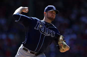 ARLINGTON, TX - OCTOBER 10:  Pitcher Wade Davis #40 of the Tampa Bay Rays throws against the Texas Rangers in the first inning during game 4 of the ALDS at Rangers Ballpark in Arlington on October 10, 2010 in Arlington, Texas.  (Photo by Ronald Martinez/G
