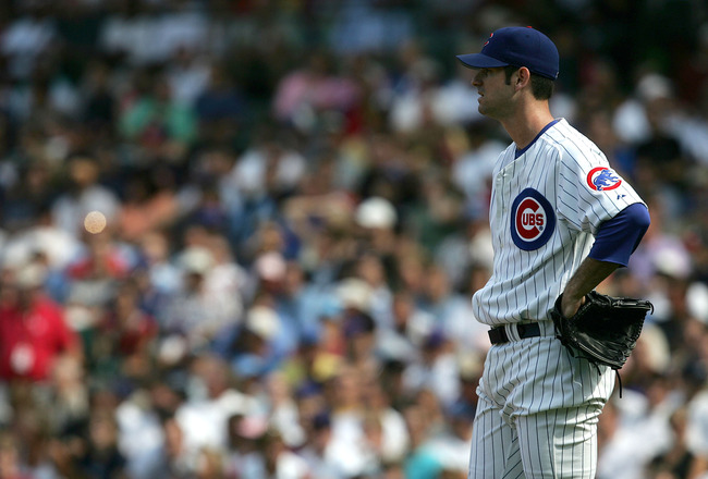 CHICAGO - AUGUST 24:  Starting pitcher Mark Prior #22 of the Chicago Cubs reacts after giving up three runs in the seventh inning against the Atlanta Braves on August 24, 2005 at Wrigley Field in Chicago, Illinois. The Braves defeated the Cubs 3-1.  (Phot