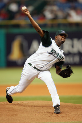 ST. PETERSBURG, FL - APRIL 4:  Dewon Brazelton #45 of the Tampa Bay Devil Rays delivers a pitch during the game with the Toronto Blue Jays at the Tropicana Field home opener at on April 4, 2005 St. Petersburg, Florida. (Photo by Nick Laham/Getty Images).
