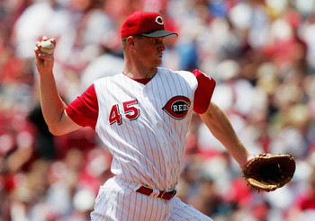 CINCINNATI, OH - JUNE 17: Starting pitcher Todd Van Poppel #45 of the Cincinnati Reds throws against the Texas Rangers June 17, 2004 at the Great American Ball Park in Cincinnati, Ohio.  (Photo by Matthew Stockman/Getty Images)