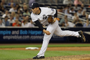 NEW YORK - JULY 20:  Chan Ho-Park #61 of the New York Yankees delivers a pitch against the Los Angeles Angels of Anaheim on July 20, 2010 at Yankee Stadium in the Bronx borough of New York City.  (Photo by Jim McIsaac/Getty Images)