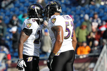 FOXBORO, MA - JANUARY 10:  (L-R) Ed Reed #20 and Ray Lewis #52 of the Baltimore Ravens talk on the field during warm ups against the New England Patriots during the 2010 AFC wild-card playoff game at Gillette Stadium on January 10, 2010 in Foxboro, Massac