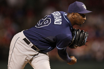 ARLINGTON, TX - OCTOBER 09:  Pitcher Rafael Soriano #29 of the Tampa Bay Rays throws against the Texas Rangers during game 3 of the ALDS at Rangers Ballpark in Arlington on October 9, 2010 in Arlington, Texas.  (Photo by Ronald Martinez/Getty Images)