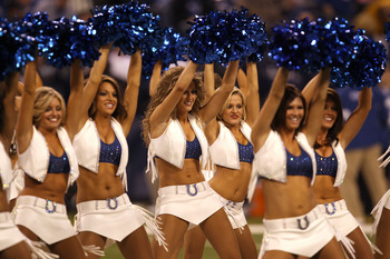 INDIANAPOLIS, IN - JANUARY 08:  Cheerleaders for the Indianapolis Colts perform against the New York Jets during their 2011 AFC wild card playoff game at Lucas Oil Stadium on January 8, 2011 in Indianapolis, Indiana.  (Photo by Jonathan Daniel/Getty Image