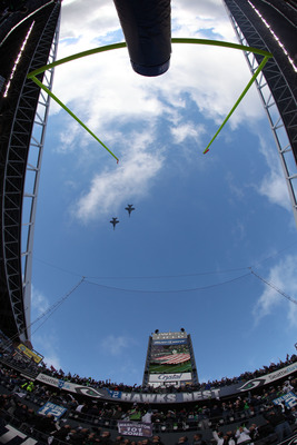 SEATTLE, WA - JANUARY 08:  A flyover before the 2011 NFC wild-card playoff game between the New Orleans Saints and the Seattle Seahawks at Qwest Field on January 8, 2011 in Seattle, Washington.  (Photo by Otto Greule Jr/Getty Images)