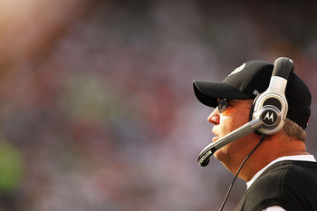 EAST RUTHERFORD, NJ - SEPTEMBER 19:  Rex Ryan, Head Coach of the New York Jets looks on against the New England Patriots on September 19, 2010 at the New Meadowlands Stadium  in East Rutherford, New Jersey.  (Photo by Al Bello/Getty Images)
