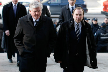 MONTREAL, CANADA - NOVEMBER 29:  Toronto Maple Leafs General Manager Brian Burke and NHL Commisioner Gary Bettman arrive at the memorial service for former NHL coach Pat Burns at the Mary, Queen of the World Cathedral on November 29, 2010 in Montreal, Que