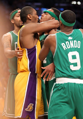 LOS ANGELES, CA - JUNE 17:  Ron Artest #37 of the Los Angeles Lakers and Paul Pierce #34 of the Boston Celtics get in each others face in the second quarter of Game Seven of the 2010 NBA Finals at Staples Center on June 17, 2010 in Los Angeles, California