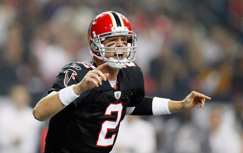 ATLANTA - NOVEMBER 11:  Quarterback Matt Ryan #2 of the Atlanta Falcons yells to his offense against the Baltimore Ravens at Georgia Dome on November 11, 2010 in Atlanta, Georgia.  (Photo by Kevin C. Cox/Getty Images)