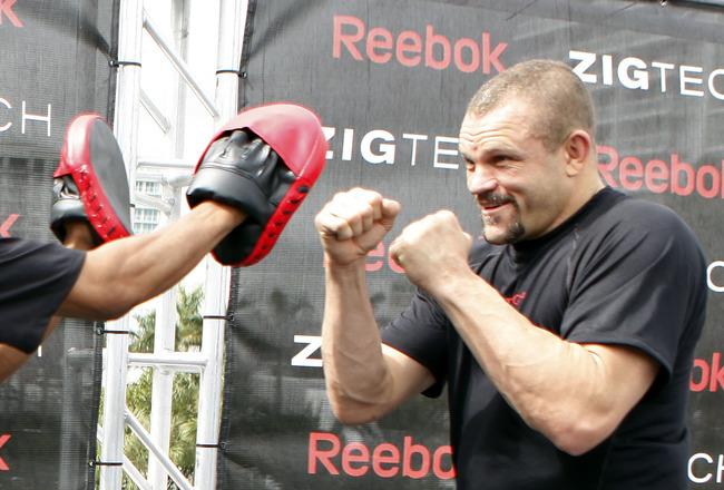FORT LAUDERDALE, FL - FEBRUARY 05:  Fighter 'Sugar' Shane Mosley (L) and MMA fighter Chuck Liddell (R) spar during the Reebok launch of the ZIGTECH shoe on February 5, 2010 in Fort Lauderdale, Florida.  (Photo by Marc Serota/Getty Images for Reebok)