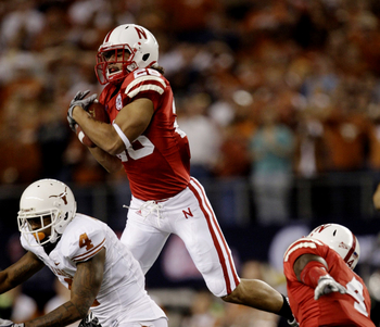 ARLINGTON, TX - DECEMBER 5:  Eric Hagg #28 of the Nebraska Cornhuskers catches the ball for an interception in the first quarter against the Texas Longhorns at Cowboys Stadium on December 5, 2009 in Arlington, Texas.  (Photo by Jamie Squire/Getty Images)