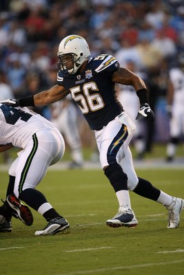 SAN DIEGO - AUGUST 15:  Linebacker Shawne Merriman #56 of the San Diego Chargers pursues the ball against the Seattle Seahawks on August 15, 2009 at Qualcomm Stadium in San Diego, California.  (Photo by Stephen Dunn/Getty Images)