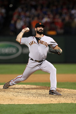 ARLINGTON, TX - NOVEMBER 01:  Brian Wilson #38 of the San Francisco Giants pitchers against the Texas Rangers in Game Five of the 2010 MLB World Series at Rangers Ballpark in Arlington on November 1, 2010 in Arlington, Texas.  (Photo by Doug Pensinger/Get