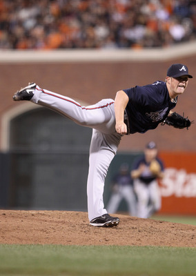 SAN FRANCISCO - OCTOBER 08:  Craig Kimbrel #46 of the Atlanta Braves pitches against the San Francisco Giants during game 2 of the NLDS at AT&T Park on October 8, 2010 in San Francisco, California.  (Photo by Ezra Shaw/Getty Images)
