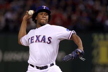 ARLINGTON, TX - NOVEMBER 01:  Neftali Feliz #30 of the Texas Rangers pitches against the San Francisco Giants in Game Five of the 2010 MLB World Series at Rangers Ballpark in Arlington on November 1, 2010 in Arlington, Texas.  (Photo by Doug Pensinger/Get