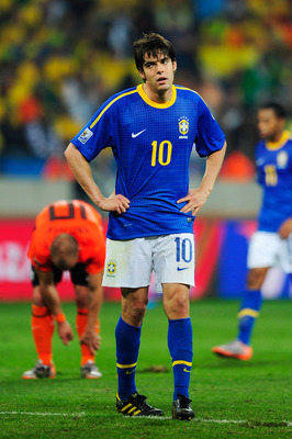PORT ELIZABETH, SOUTH AFRICA - JULY 02: Kaka of Brazil looks dejected during the 2010 FIFA World Cup South Africa Quarter Final match between Netherlands and Brazil at Nelson Mandela Bay Stadium on July 2, 2010 in Nelson Mandela Bay/Port Elizabeth, South