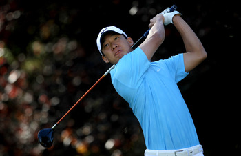 THOUSAND OAKS, CA - DECEMBER 02:  Anthony Kim hits his tee shot on the second hole during the Chevron World Challenge at Sherwood Country Club on December 2, 2010 in Thousand Oaks, California.  (Photo by Stephen Dunn/Getty Images)