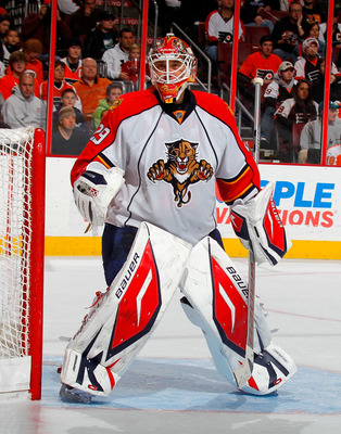 PHILADELPHIA, PA - DECEMBER 20:  Goalie Tomas Vokoun #29 of the Florida Panthers in action during a hockey game against the Philadelphia Flyers at the Wells Fargo Center on December 20, 2010 in Philadelphia, Pennsylvania.  (Photo by Paul Bereswill/Getty I