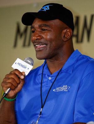 BROOKLYN, MI - AUGUST 15:  Former heavyweight Champion Evander Holyfield speaks at a press conference prior to the NASCAR Sprint Cup Series CARFAX 400 at Michigan International Speedway on August 15, 2010 in Brooklyn, Michigan. Holyfield is the co-Grand M