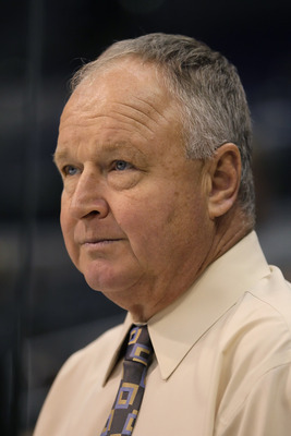 LOS ANGELES, CA - SEPTEMBER 28:  Anaheim Ducks head coach Randy Carlyle looks on prior to the start of the game against the Los Angeles Kings at Staples Center on September 28, 2010 in Los Angeles, California.  (Photo by Jeff Gross/Getty Images)