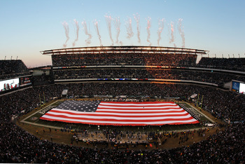 PHILADELPHIA, PA - JANUARY 09:  The color guard presents a full field flag for the national anthem before the game between the Green Bay Packers and the Philadelphia Eagles in the 2011 NFC wild card playoff game at Lincoln Financial Field on January 9, 20