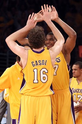 LOS ANGELES, CA - JUNE 17:  Pau Gasol #16 of the Los Angeles Lakers reacts in the second half with teammate Andrew Bynum #17 while taking on the Boston Celtics in Game Seven of the 2010 NBA Finals at Staples Center on June 17, 2010 in Los Angeles, Califor