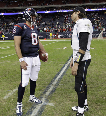HOUSTON - JANUARY 02:  Quarerback Matt Schaub #8 of the Houston Texans and quarterback Trent Edwards of theJacksonville Jaguars tal after the game  at Reliant Stadium on January 2, 2011 in Houston, Texas.  (Photo by Bob Levey/Getty Images)