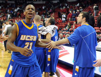 LAS VEGAS, NV - DECEMBER 15:  James Nunnally #21 and Christian Peterson #24 of the UC Santa Barbara Gauchos celebrate their 68-62 win over the UNLV Rebels at the Thomas & Mack Center December 15, 2010 in Las Vegas, Nevada.  (Photo by Ethan Miller/Getty Im