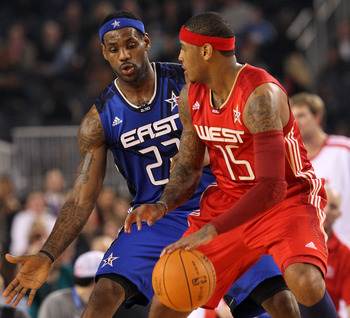 ARLINGTON, TX - FEBRUARY 14:  Carmelo Anthony #15 of the Western Conference drives against LeBron James #23 of the Eastern Conference during the third quarter of the NBA All-Star Game, part of 2010 NBA All-Star Weekend at Cowboys Stadium on February 14, 2