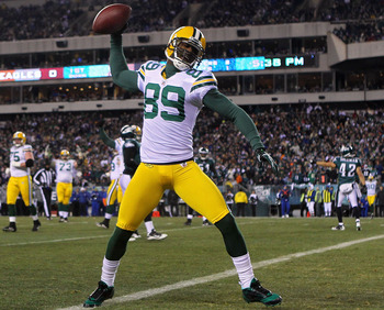 PHILADELPHIA, PA - JANUARY 09:  James Jones #89 of the Green Bay Packers celebrates after scoring a touchdown in the second quarter against the Philadelphia Eagles during the 2011 NFC wild card playoff game at Lincoln Financial Field on January 9, 2011 in