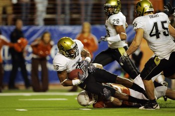 AUSTIN, TX - OCTOBER 10:  Cornerback Jimmy Smith #3 of the Colorado Buffaloes picks up the loose ball which was knocked out of the hand of quarterback Colt McCoy of the Texas Longhorns in the second quarter  on October 10, 2009 at Darrell K Royal-Texas Me
