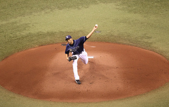 ST. PETERSBURG, FL - OCTOBER 12:  David Price #14 of the Tampa Bay Rays pitches during Game 5 of the ALDS against the Texas Rangers at Tropicana Field on October 12, 2010 in St. Petersburg, Florida.  (Photo by Mike Ehrmann/Getty Images)